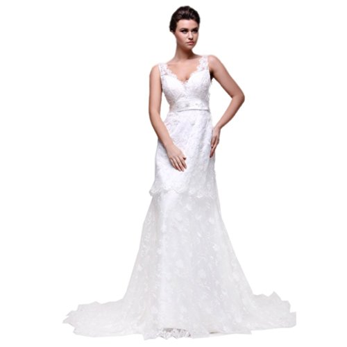 Sheath V-neck Court Train - Dearta Women's Sheath/Column V-Neck Court Train Wedding Dresses US 18 White