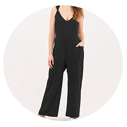 Khuntorians 2019 Summer New Women Jumpsuits Sleeveless Sexy V-Neck Rompers Wide Leg Pants,Black,XXL