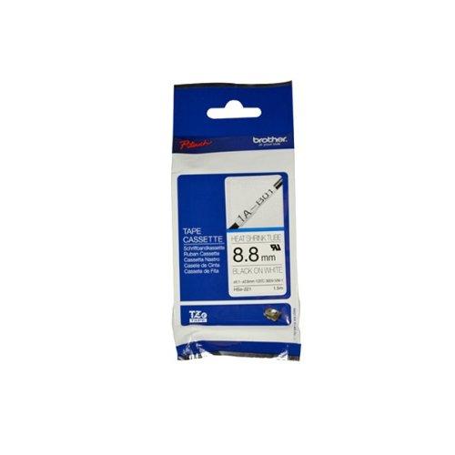 Brother HSe-221 8.8mm Heat Shrink Tube Tape Cassette - Bl...