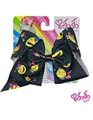 Price comparison product image JoJo Siwa Signature Collection Hair Bow with Multicolor Rhinestones - Emoji Print - Sticker Patch Set Included