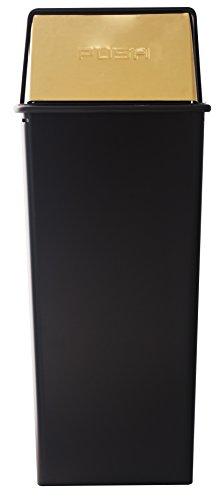 (Witt Industries 21HT-11 Monarch Series Waste Watcher Receptacle, Steel, 21 gal, Black/Brass)