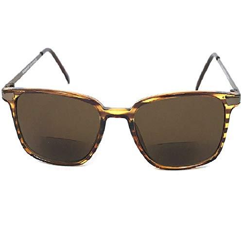1 Pair Tortoise Brown With Gunmetal Frame Fashion Square Inner Bifocal Tinted Reading Sunglasses - Choose Power Strength (Tortoise Brown-Gunmetal, 2.25) ()