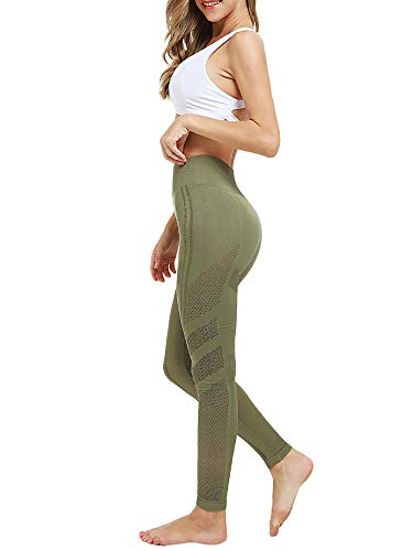 Meilidress Womens Ruched Butt Lifting Leggings High Waisted Workout Sport Tummy Control Gym Yoga Pants (6-q-Army Green Hollow Out, Large) (Tummy Lift)