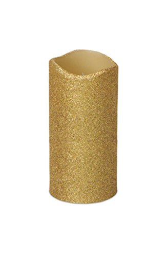 Pack of 6 Gold Glittered Flameless Wax LED Pillar Candles w/Timers 3'' x 6'' by Melrose