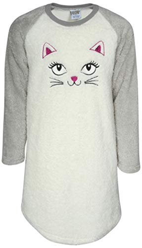 Sweet & Sassy Girls' Full Sherpa Animal Nightgown, White Cat, Size 5/6'