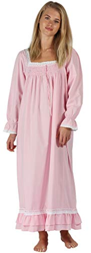 The 1 for U Martha Nightgown 100% Cotton Victorian Style - Sizes XS - 3X ... (XS, Pink)