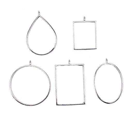 (JETEHO 30pcs 5 Styles Open Back Bezel Pendant for Pressed Flower, Resin, Polymer - Zinc Alloy Open Back Frame with 1 Loop, Silver)