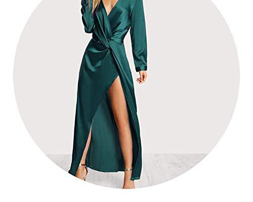 Green Collared Plunge Neck Twist Satin Dress Deep V Neck Slim Maxi Sheath Party Dress,Green,S - Neck Caress Satin