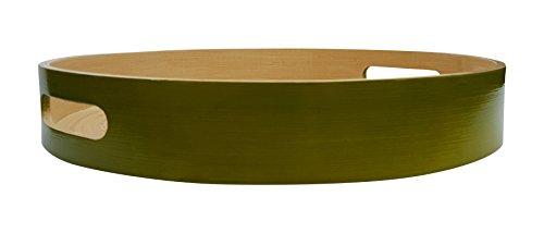 South Asia Trading Medium Bamboo Wooden Serving Tray Handmade Round Circular - 12