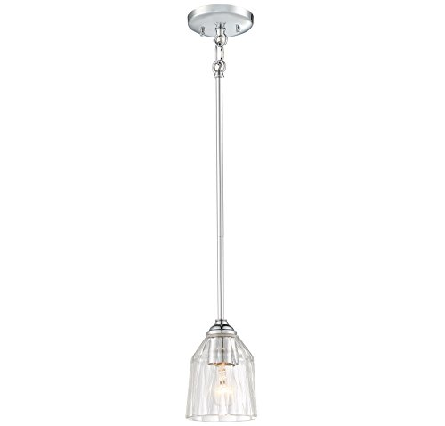 Minka Lavery Minka 3380-77 Transitional One Light Mini Pendant from D`Or Collection in Chrome, Pol. Nckl.Finish, 5.25 Inches D 5.25 Inchesone