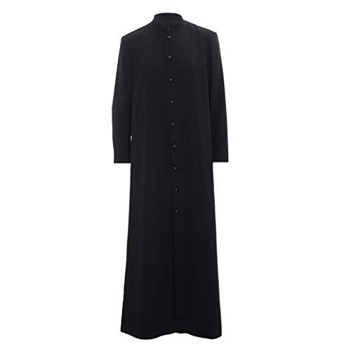 Unisex Roman Cassock Altar Server Cassock Robe Clergy Pulpit Liturgical Vestments (M:Height68-69 Bust38-40 Waist32-34 Hips38-40, Black)