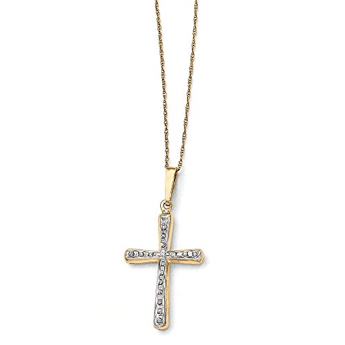 (14k Yellow Gold Diamond Fascination 18in Cross Necklace)
