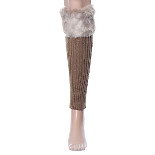 TAORE Women's Winter Faux Fur Leg Warmers Warm Fuzzy Boots Cuffs Cover (Khaki)