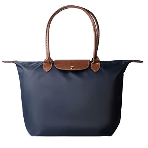 Laptop Tote Bag, Fits 15 Inch Nylon Waterproof Laptop Tote Bag/Nylon Travel Shoulder Tote Bag (Navy (Medium Nylon Bag)