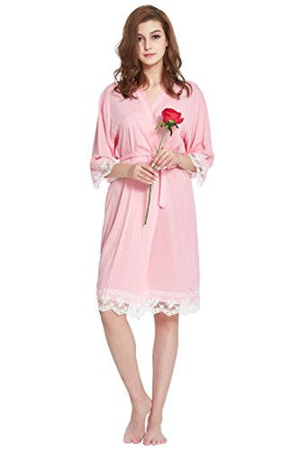 Lilywei Women's Robe Soft Cotton Solid Color Kimono With Floral Lace Trim,3/4 Sleeves (Large, - Jersey Lace Robe