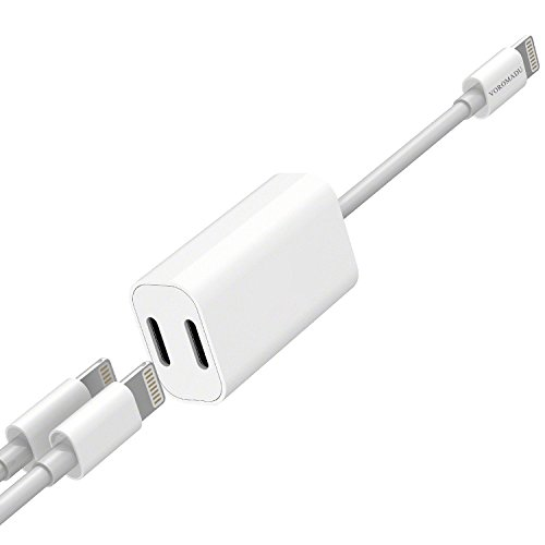 Lightning Cable Splitter,iPhone Dual Charger and Headphone Jack,iPhone Charger Splitter,[2018UPGRADED],KXFTOP,iPhone7/8/X Adapter Splitter,Dual Lightning,iPhone Dongle Splitter