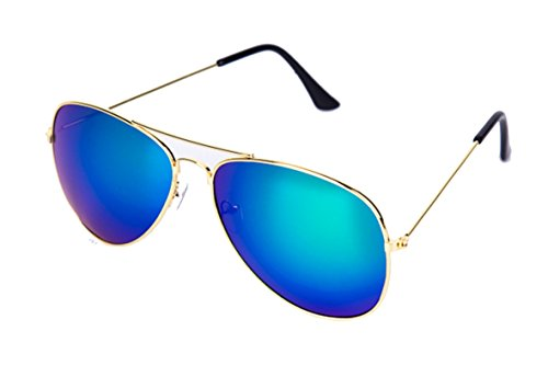 Metallic Sunglasses Color Polarization Lens Frog Mirror Trendy and Retro Sunglasses For Man and Woman(Golden Frame Blue - Polarization Color And