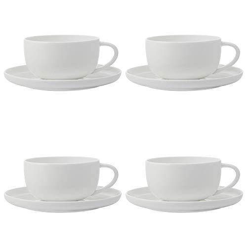 (Maxwell Williams Cashmere Coffee Cups and Saucers Set, Fine Bone China, High Rim Style, White, 300 ml (8 Pieces))