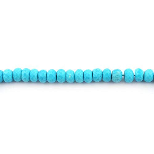 GemAbyss Beads Gemstone 1 Strand Natural Turquoise Stablized Faceted Roundelles. - Turquoise Stablized Rondelles Beads 8mm 8 Inches - Turquoise Roundelle