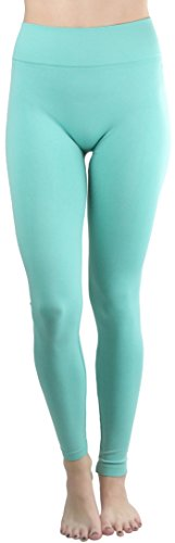 ToBeInStyle Women's High Waist Solid Print Ankle Leggings - Mint - One Size -