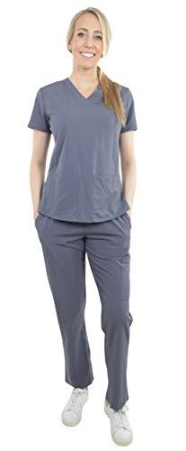 (Unisex Stretch Medical Uniform, Five Pockets V-Neck Scrubs Sets with Side Panels in Granit Size M)