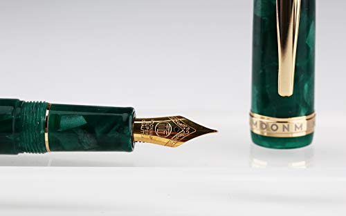 Moonman S3 Fountain Pen Green Marble Celluloid,Iridium Fine Nib Gold Plated with Pen Pouch for Signature Handwriting