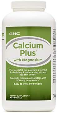 GNC Calcium Plus with Magnesium, 180 Softgels, Supports Calcium Absorption