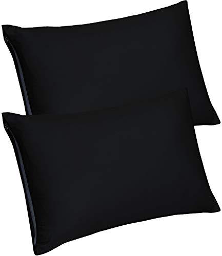 Utopia Bedding Zippered Bamboo Pillow Cases - Pack of 2 Pillow Protector- (King, Black) Pillow Protector -Bamboo Sateen Pillow Encasement (20 by 40 inches)