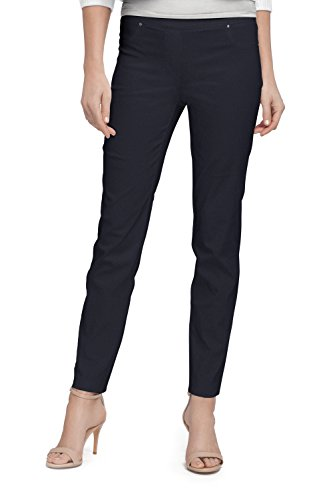 89th & Madison Solid Millennium Ankle Pant (L, Navy) Navy Pants