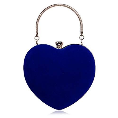 Forma Spalla Pelle Donna Pink Mallty Borsa A Cuore In Blue color Diagonale Scamosciata Mano Di Light Da xww0zZI