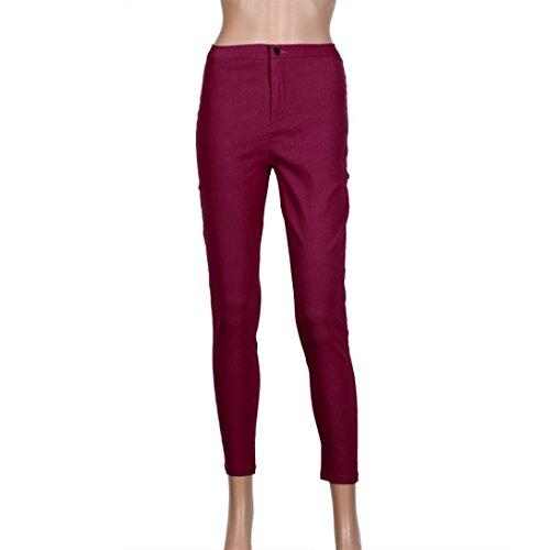 Femmes Rouge Multicolore Jeans Familizo Court Dentelle en Taille Femme Jeans Haute Jeans gF5xxPdqn