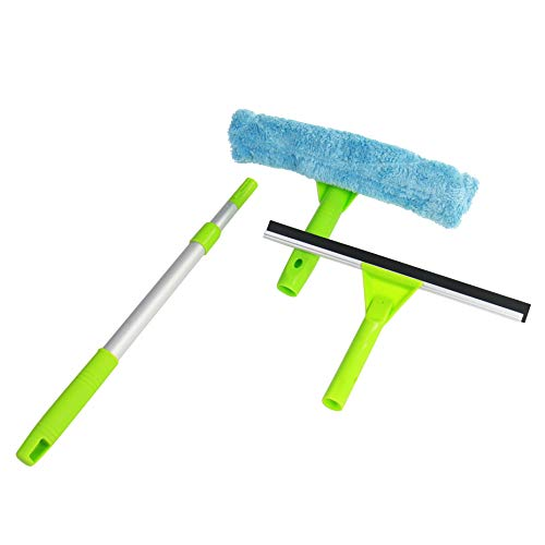 ITTAHO Professional Easy to Use 12.2 inch Window Squeegee with 35.4 inch Long Telescopic Pole 3 in 1 Window Cleaning Tool with Scrubber and Microfiber for Home Commercial High Window RV Bus Cleaning
