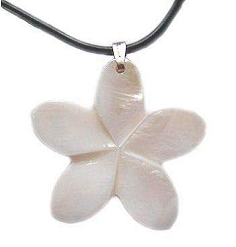 Hawaiian Jewelry White Plumeria Flower Shell Necklace ()