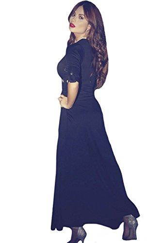 Negro Ojal Body de manga cuello en V con pantalones de Hot Maxi vestido talla M 10–�?2UK