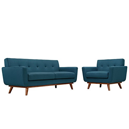 Modway Engage Mid-Century Modern Upholstered Fabric Two Armchair and Loveseat...