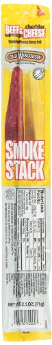 Old Wisconsin Smoke Stacks Beef Sausage with Cheddar, 2.5-Ounce Packages (Pack of 18)