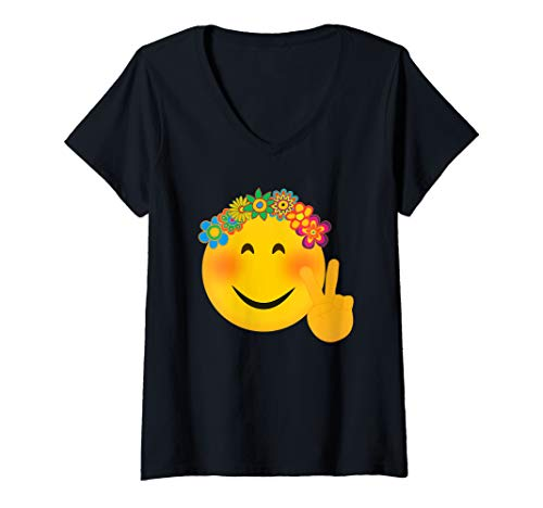 Halloween Smiley Symbols (Womens Hippie Emoji TShirt Funny Hippy Peace Hand Sign Flowers  V-Neck)
