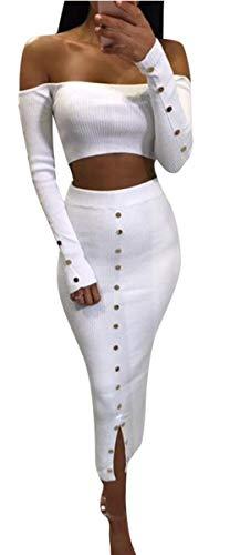 (Rozegaga Womens Off The Shoulder Long Sleeve Crop Top & Long Skirt Set Party Dress White Medium)