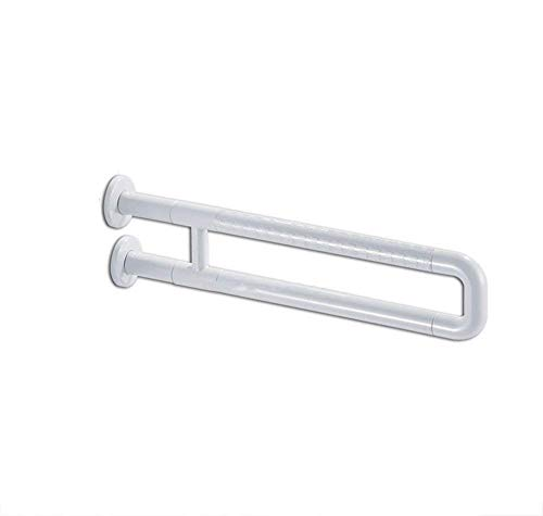 ZHAS Rail Brushed Stainless Steel Bathroom Grab Bar Handrail/Wall Mounted Straight Towel Holder/Shower Aid & Safety Support Handrail White 60cm with Non-Slip Particles Grab Rail for Shower/ba ()