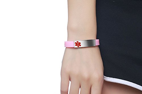 Free Engraving- Personalized Stainless Steel Medical Alert Pink Silicone Adjustable ID Bracelets for Girl Women Mealguet MG--BS--074