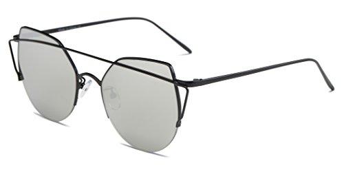 Cramilo Round Cat Eye Fashion Designer Flat Reflective Mirrored Sunglasses for - Face Female Round 2016 For Glasses