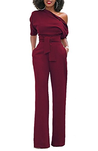 Grace Elbe Women's Off The Shoulder Half Sleeves Jumpsuit Burgundy XX-Large