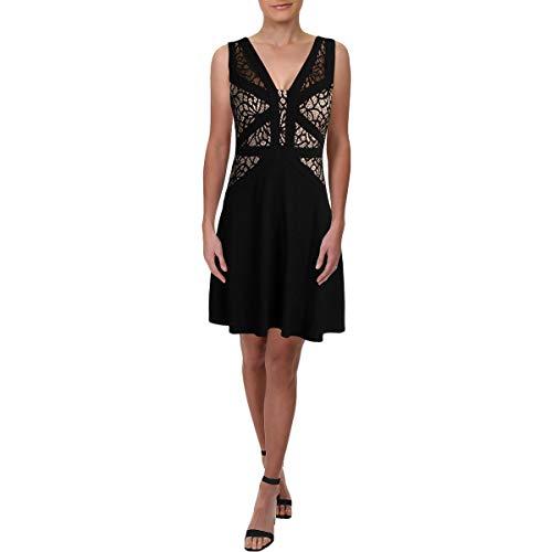 Aidan by Aidan Mattox Womens Mini Lace Inset Cocktail Dress Black 12