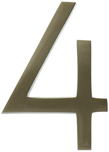 ARCHITECTURAL MAILBOXES 3584SN-4 Frank Lloyd Collection Wright Address House Number, 4, Satin Nickel