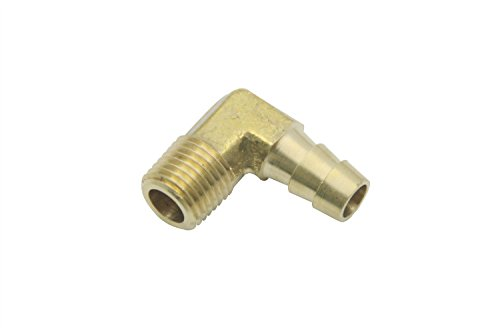 LTWFITTING 90 Degree Elbow Brass Barb Fitting 3/8 ID Hose x 1/4