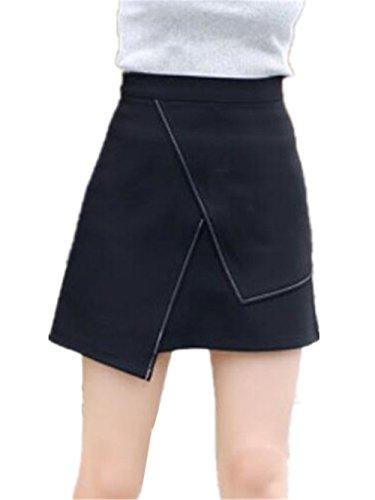 Haililais Femme Jupe Court Irrgulier Jupe A-Line Amincissante Femelle Skirt Taille Haute Tendance Jupe Dcontracte Jupe Black2