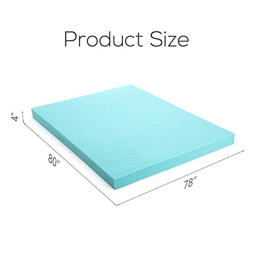 "Mecor 4"" 4 inch King Size Gel Infused Memory Foam Mattress Topper-Flat Design Bed Mattress Topper for Side, Back, Stomach Sleepers-CertiPUR-US Certified/Blue"
