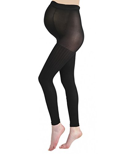 Pamela Mann Maternity Ribbed Footless Tights - The Hosiery Outlet-One Size-Black