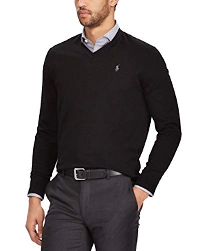 (Polo Ralph Lauren Men's V-Neck Merino Wool Sweater Pullover (Medium,)