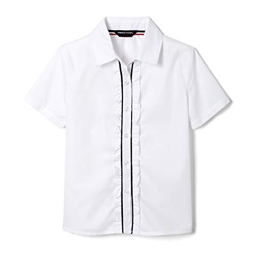 (French Toast Girls' Big Short Sleeve Ruffle Front Blouse, White, 7)